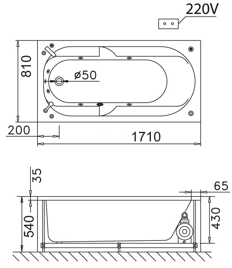 Bản vẽ kỹ thuật bồn tắm dài Caesar MT0270 1,7M