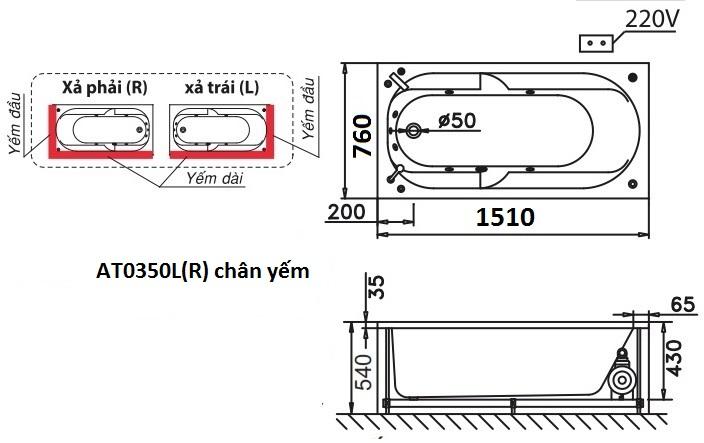 Bản vẽ kỹ thuật bồn tắm dài Caesar AT0350L(R) 1.5M