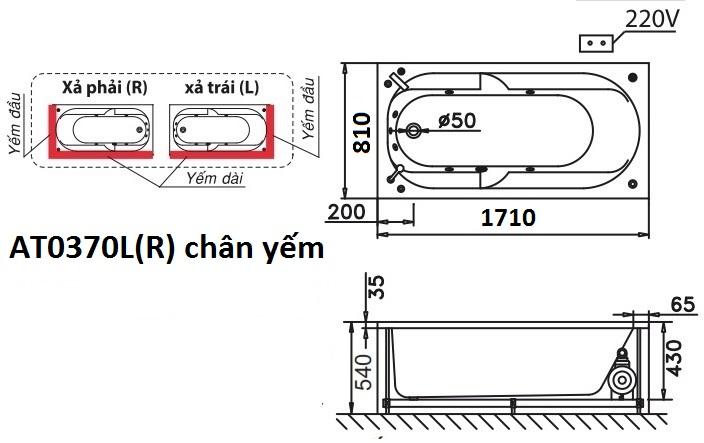 Bản vẽ kỹ thuật bồn tắm dài Caesar AT0370L(R) 1.7M