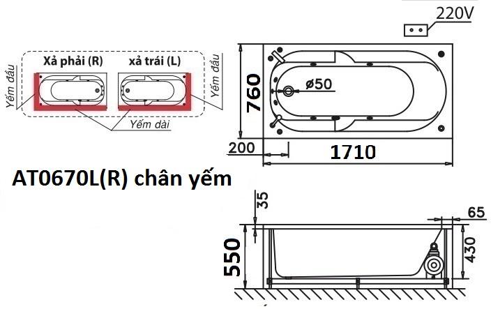 Bản vẽ kỹ thuật bồn tắm dài Caesar AT0670L(R) 1.7M
