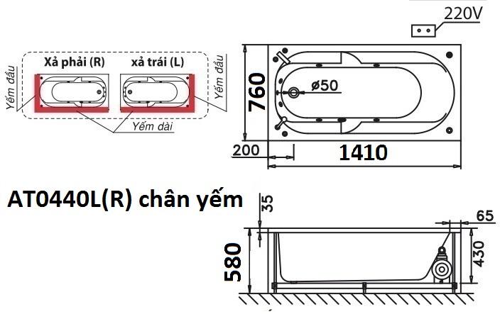 Bản vẽ kỹ thuật bồn tắm dài Caesar AT0440L(R) 1.4M