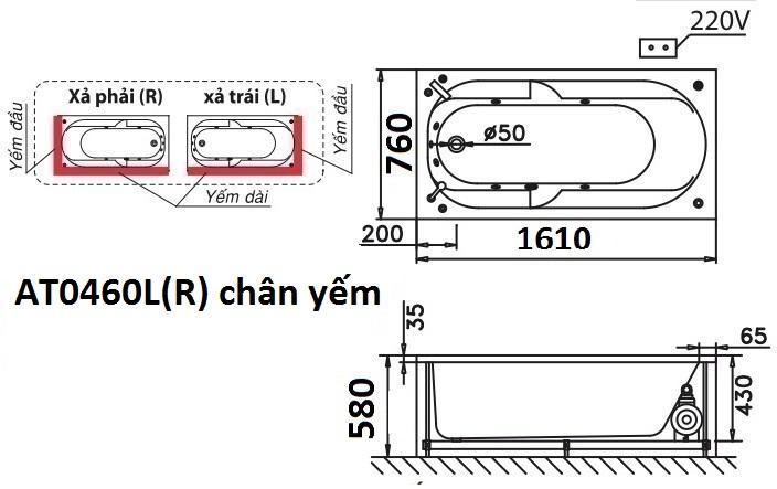 Bản vẽ kỹ thuật bồn tắm dài Caesar AT0460L(R) 1.6M