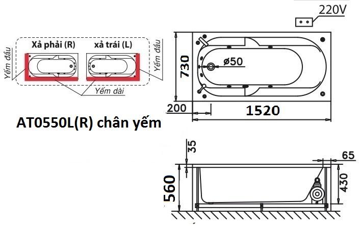 Bản vẽ kỹ thuật bồn tắm dài Caesar AT0550L(R) 1.5M