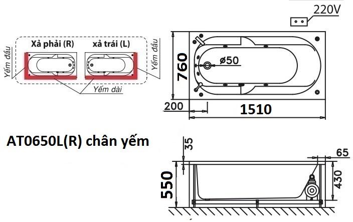 Bản vẽ kỹ thuật bồn tắm dài Caesar AT0650L(R) 1.5M