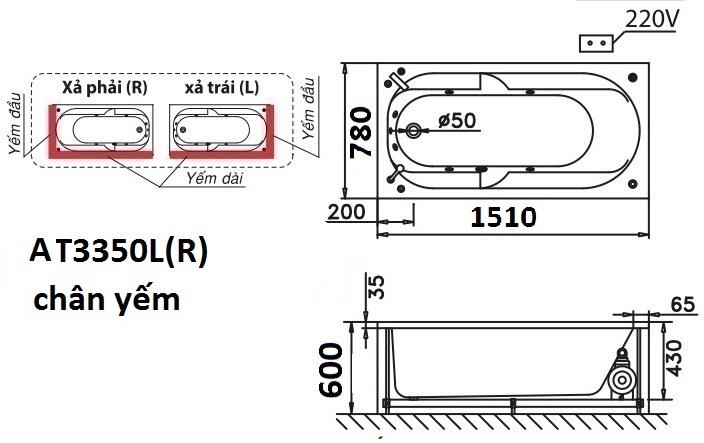 Bản vẽ kỹ thuật bồn tắm dài Caesar AT3350L(R) 1.5M