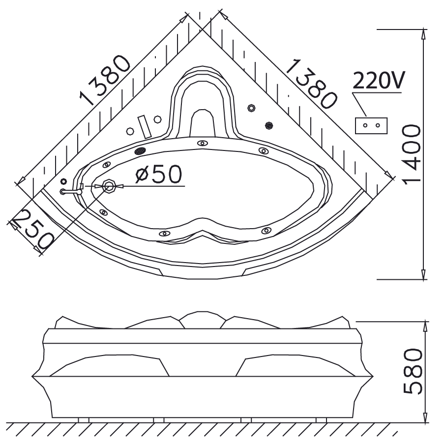 Bản vẽ kỹ thuật bồn tắm góc Caesar AT5132 1,4M