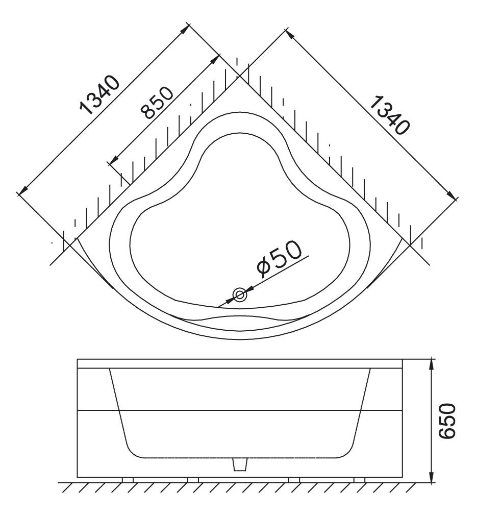 Bản vẽ kỹ thuật bồn tắm góc Caesar AT5133 1,3M
