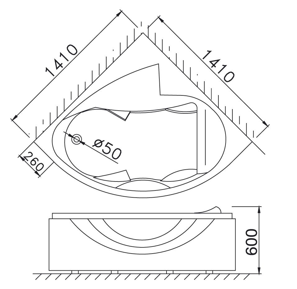 Bản vẽ kỹ thuật bồn tắm góc Caesar AT5140 1,4M