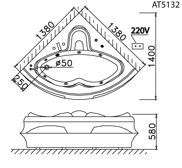 Bản vẽ kỹ thuật bồn tắm Caesar 5132