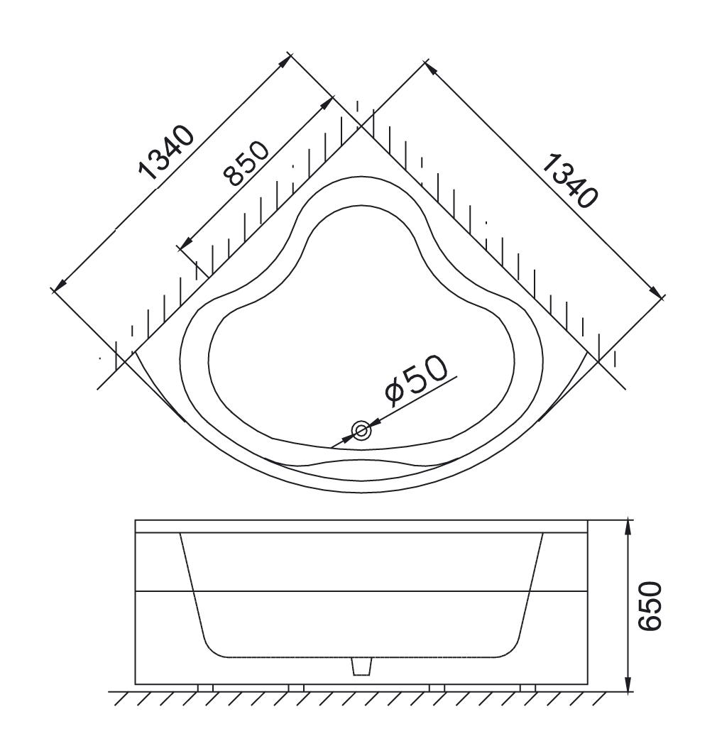 Bản vẽ kỹ thuật bồn tắm góc Caesar AT5133A 1,3M xây