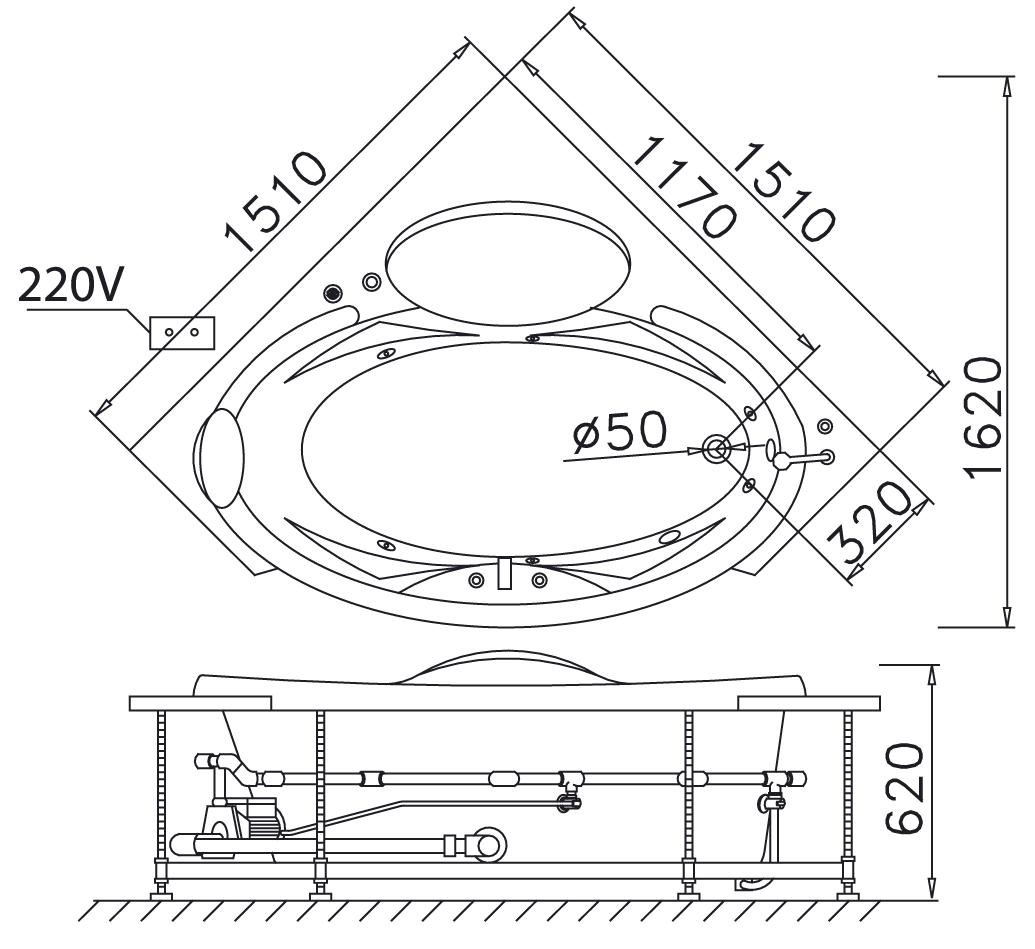 Bản vẽ kỹ thuật bồn tắm dài Caesar AT5150A 1.5M