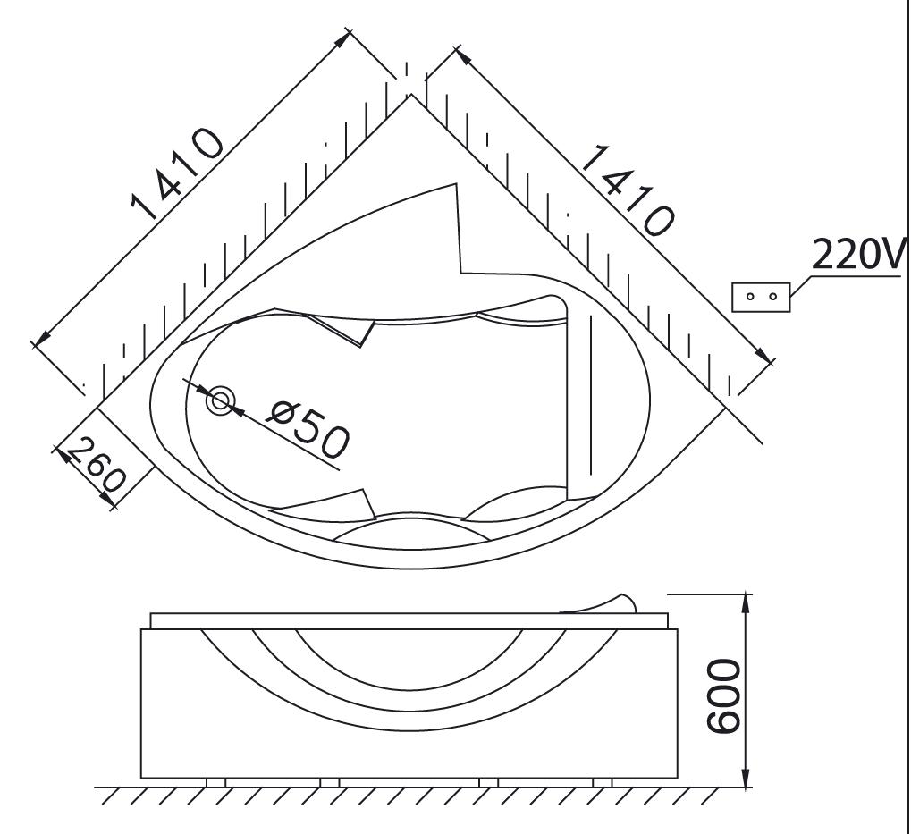 Bản vẽ kỹ thuật bồn tắm góc massage Caesar MT5140 1.4M có chân yếm
