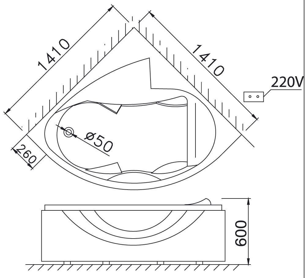 Bản vẽ kỹ thuật bồn tắm góc massage Caesar MT5140A 1.4M