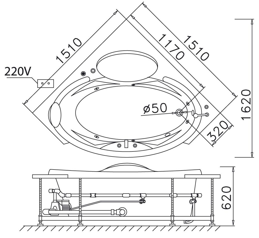 Bản vẽ kỹ thuật bồn tắm góc massage Caesar MT5150 1.5M