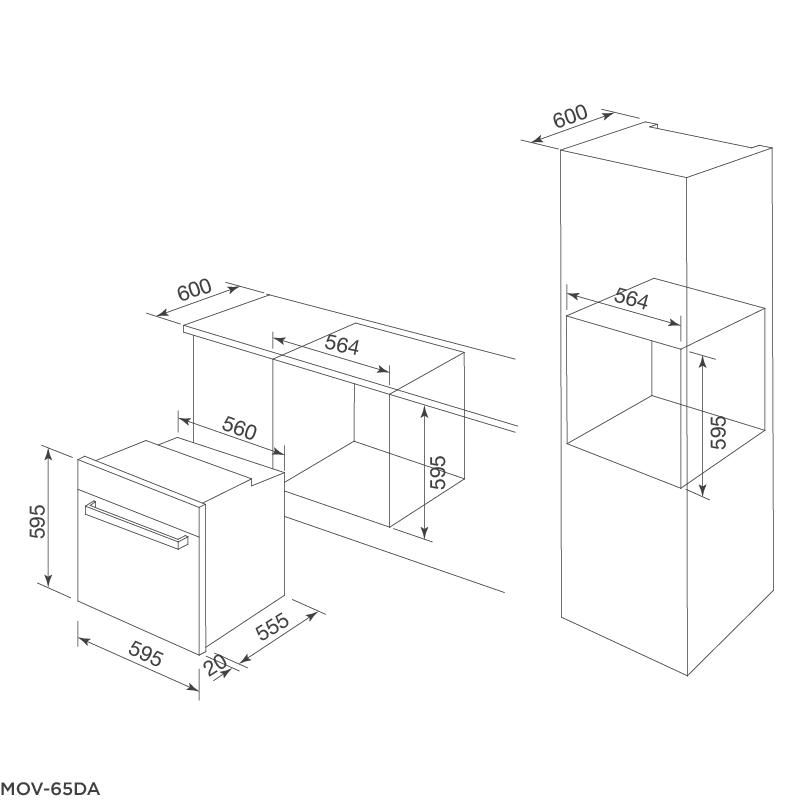 Bản vẽ kỹ thuật MOV-65DA lò nướng điện âm tủ Malloca