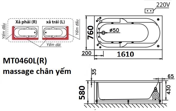 Bản vẽ kỹ thuật bồn tắm dài Caesar massage MT0460L(R) 1,6M