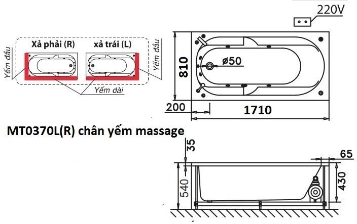 Bản vẽ kỹ thuật bồn tắm dài Caesar MT0370L(R) 1,7M