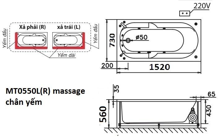 Bản vẽ kỹ thuật bồn tắm dài Caesar MT0550L(R) 1,5M