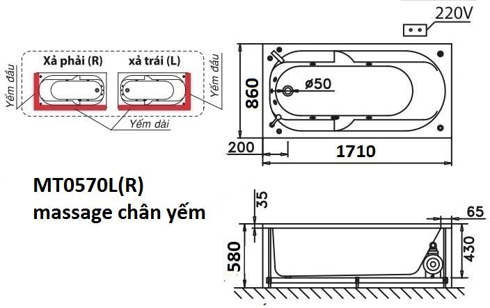 Bản vẽ kỹ thuật bồn tắm dài Caesar MT0570L(R) 1,7M