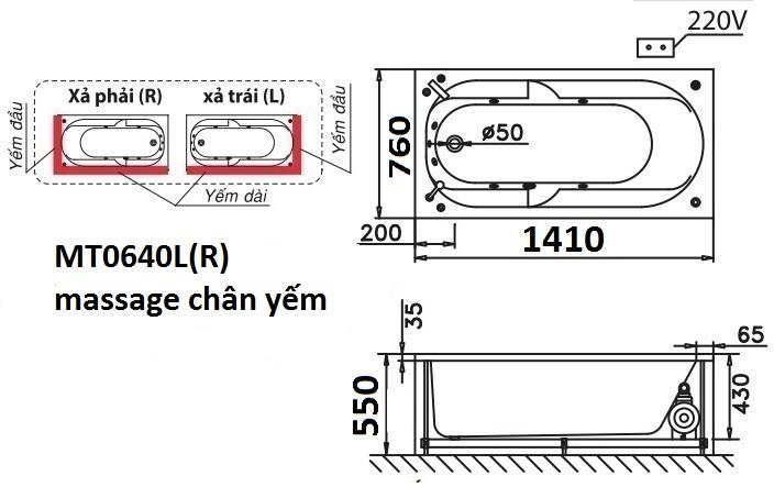 Bản vẽ kỹ thuật bồn tắm dài Caesar MT0640L(R) 1,4M