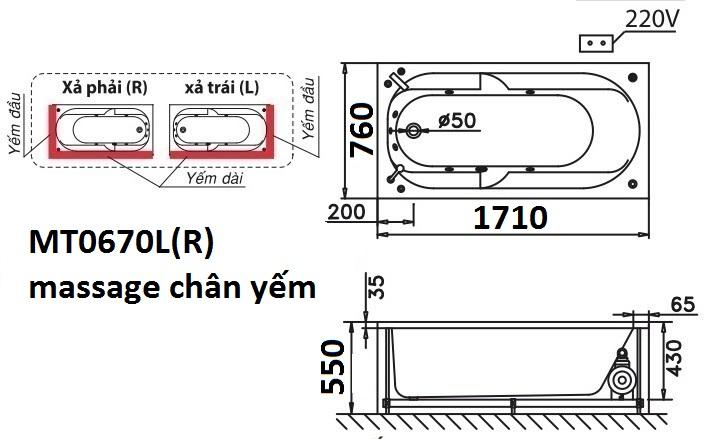 Bản vẽ kỹ thuật bồn tắm dài Caesar MT0670L(R) 1,7M