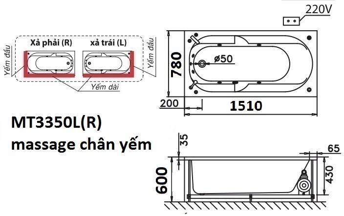 Bản vẽ kỹ thuật bồn tắm dài Caesar MT3350L(R) 1,5M