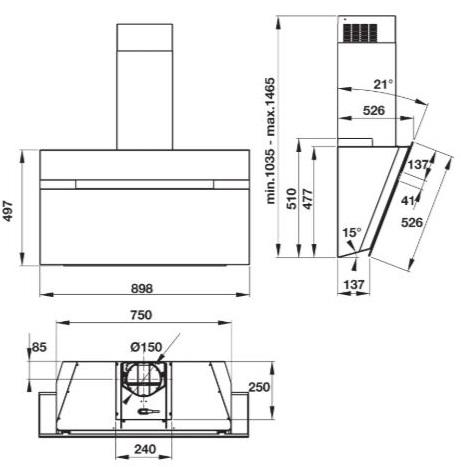 Bản vẽ kỹ thuật máy hút mùi âm bàn HH-WVG90B Hafele