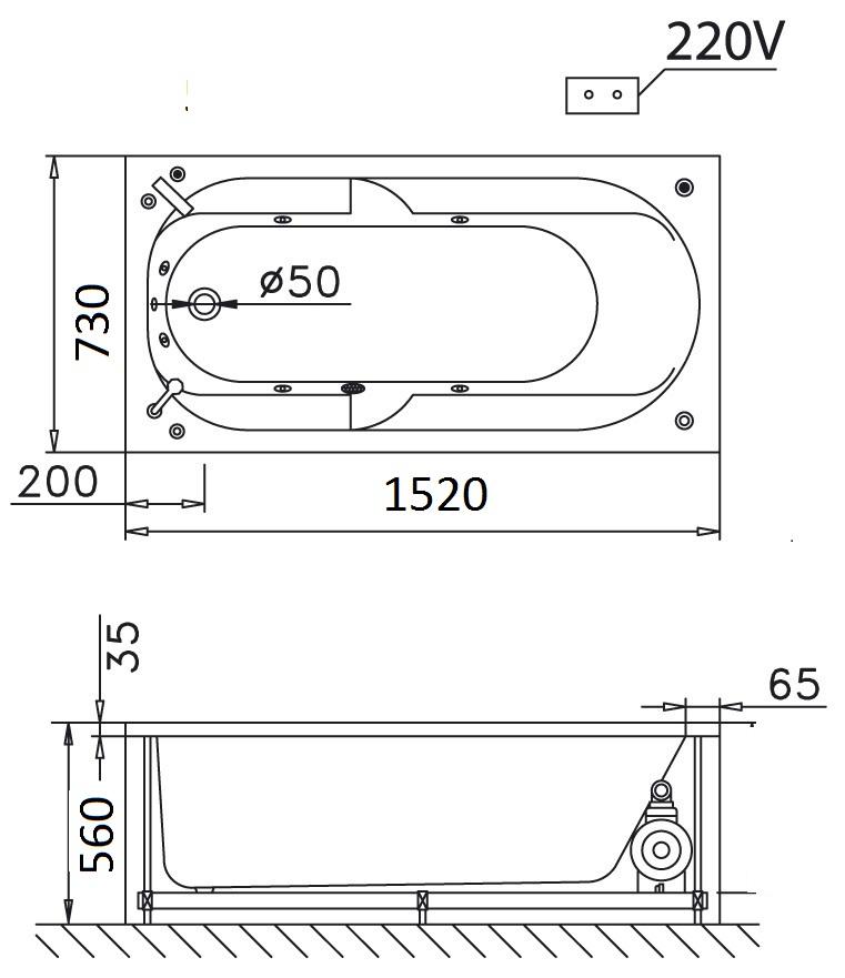 Bản vẽ kỹ thuật bồn tắm dài Caesar MT0550 1,5M