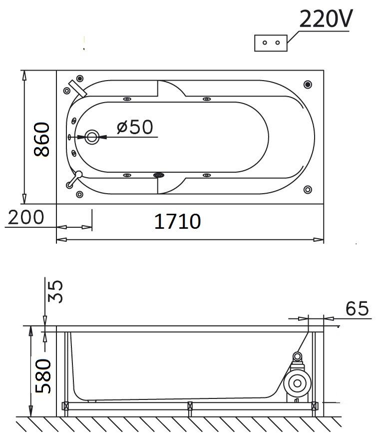 Bản vẽ kỹ thuật bồn tắm dài Caesar MT0570 1,7M