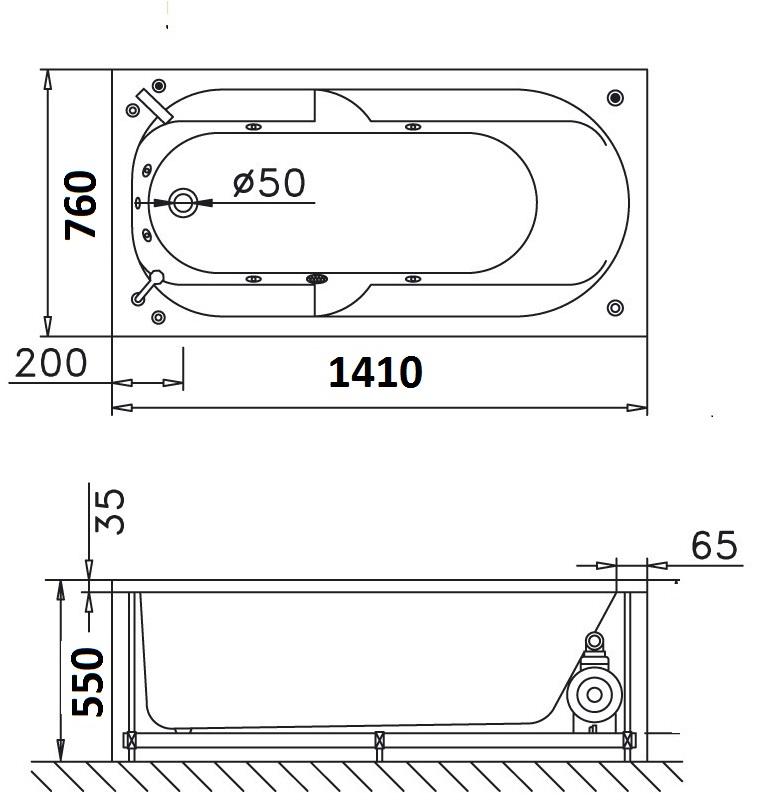 Bản vẽ kỹ thuật bồn tắm dài Caesar MT0640 1,4M