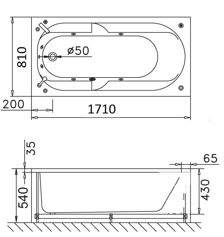 Bản vẽ kỹ thuật bồn tắm dài Caesar MT0370 1,7M