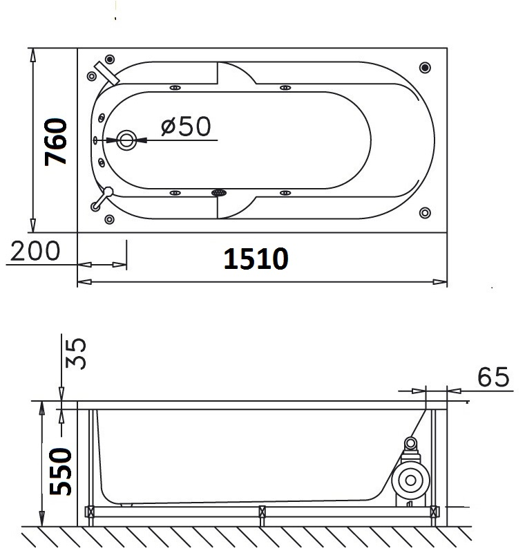 Bản vẽ kỹ thuật bồn tắm dài Caesar MT0650 1,5M