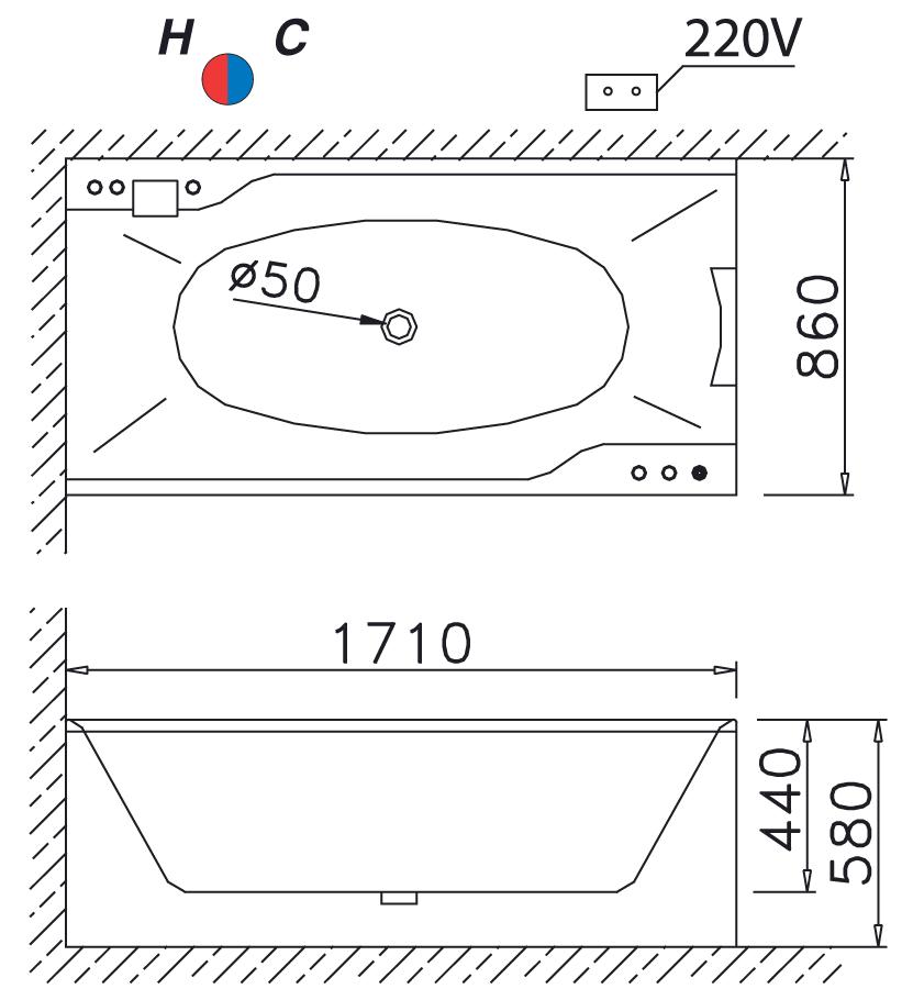 bản vẽ bồn tắm Caesar MT0870 massage xây