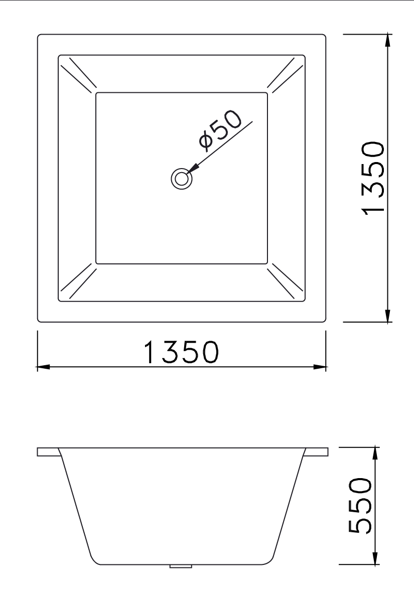 bản vẽ bồn tắm vuông Caesar AT7135 1.3M