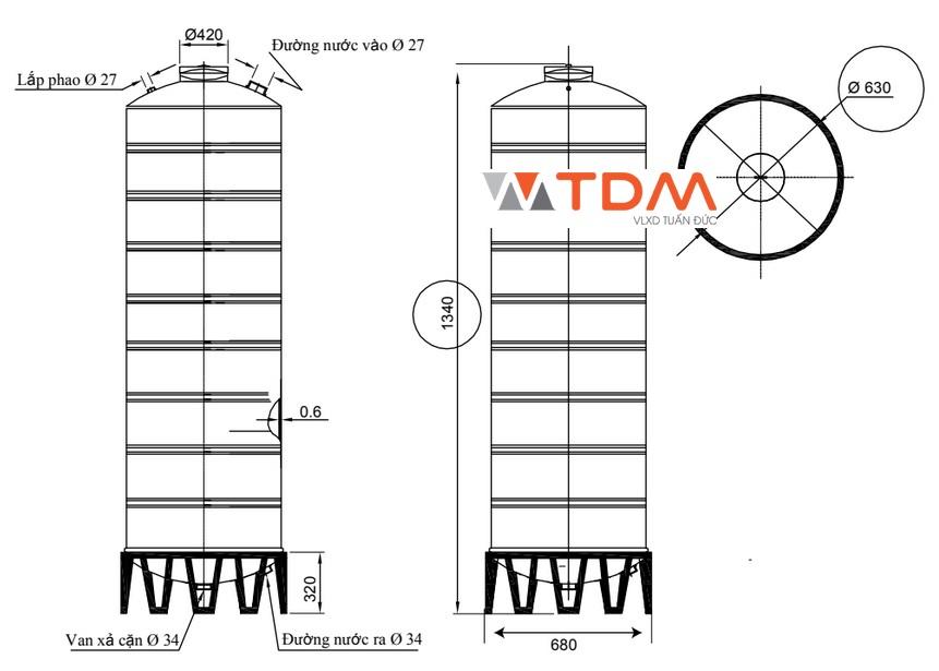 Bản vẽ bồn chứa nước inox 310 lít Đại Thành SUS 304