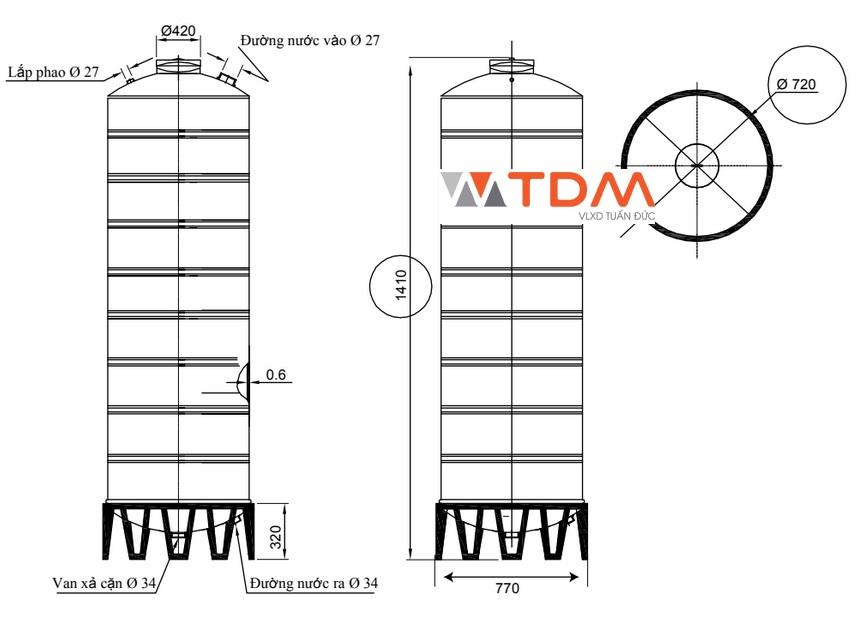 Bản vẽ bồn chứa nước inox 500 lít Đại Thành SUS 304