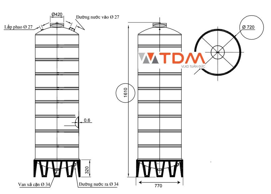 Bản vẽ bồn chứa nước inox 700 lít Đại Thành SUS 304