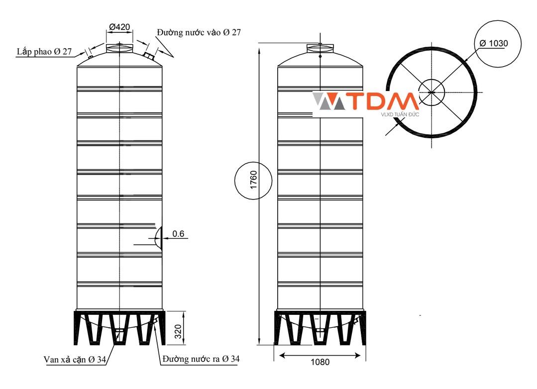 Bản vẽ bồn chứa nước inox 1300 lít Đại Thành SUS 304
