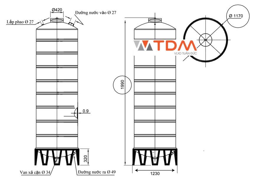 Bản vẽ bồn chứa nước inox 2000 lít Đại Thành SUS 304