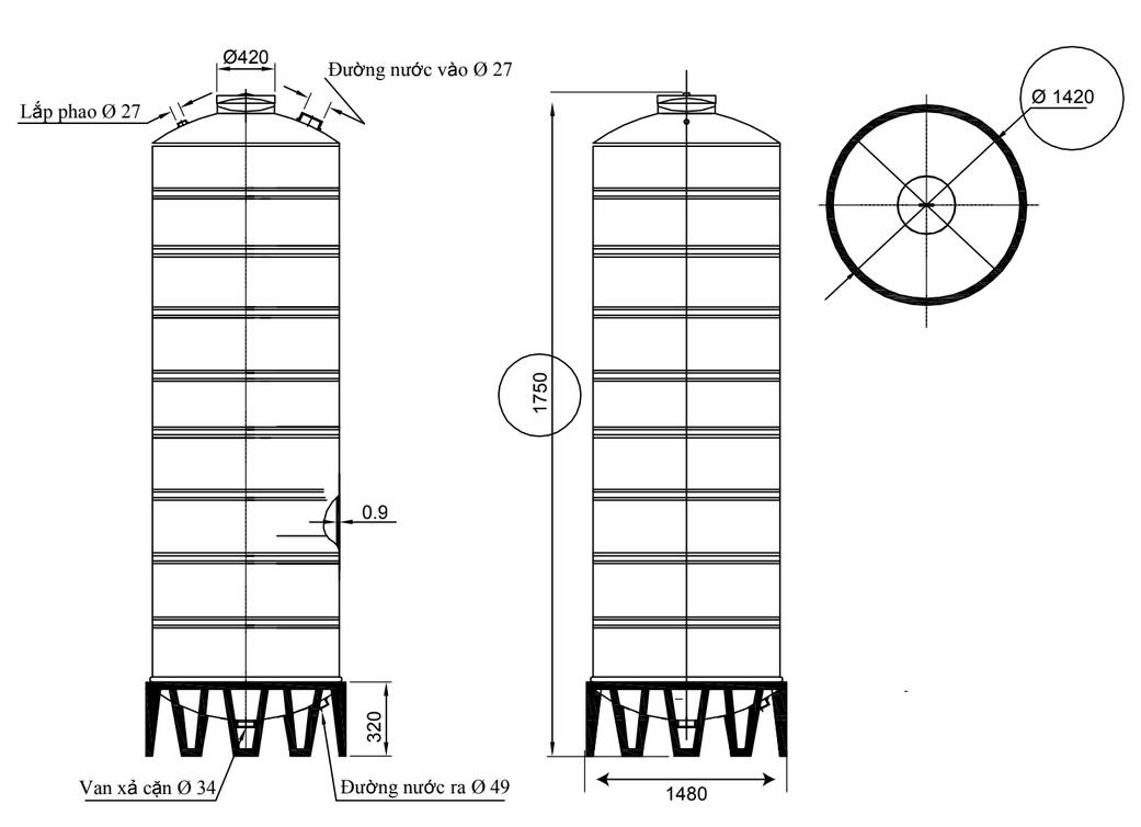 Bản vẽ bồn chứa nước inox 2500 lít Đại Thành SUS 304