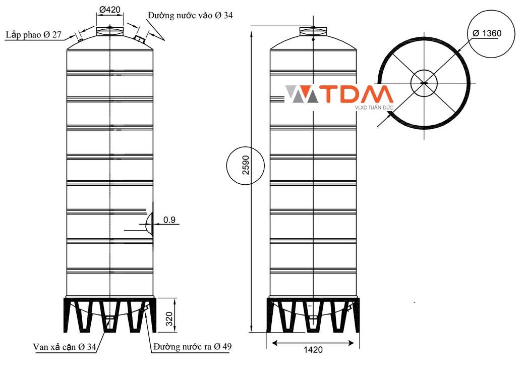 Bản vẽ bồn chứa nước inox 3000 lít Đại Thành SUS 304
