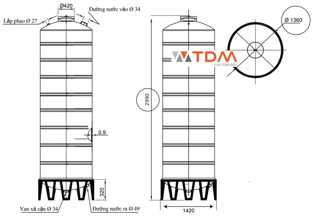 Bản vẽ bồn chứa nước inox 4000 lít Đại Thành SUS 304