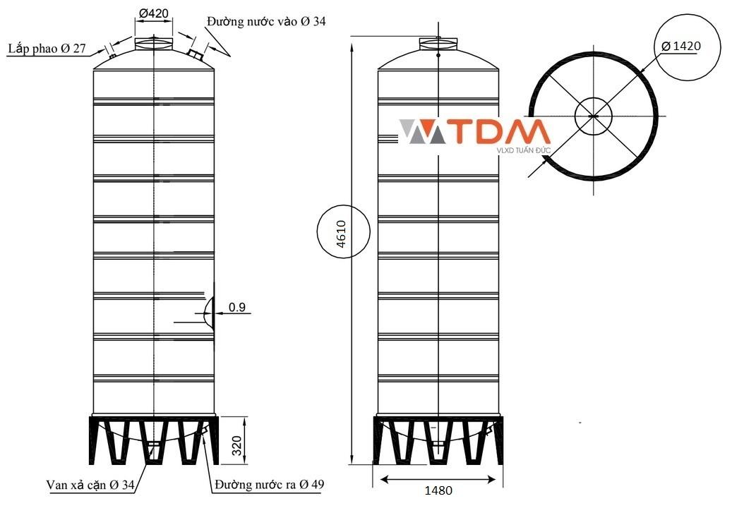 Bản vẽ bồn chứa nước inox 6000 lít Đại Thành SUS 304