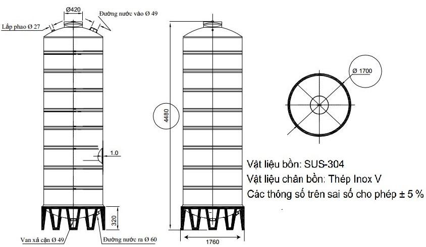 Bản vẽ téc nước inox 10000L Đại Thành SUS 304