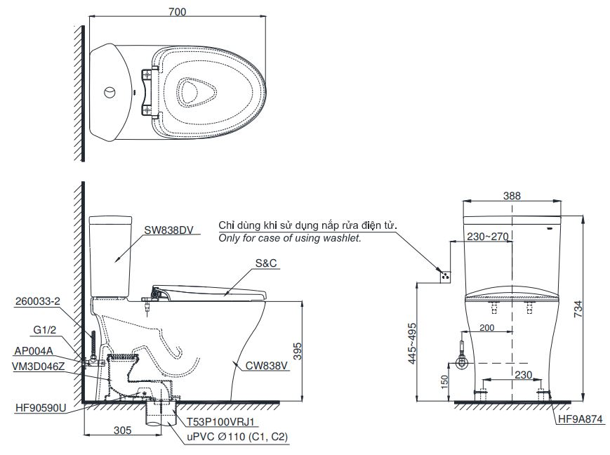 Bản vẽ bồn cầu TOTO CS838D T8 hai khối