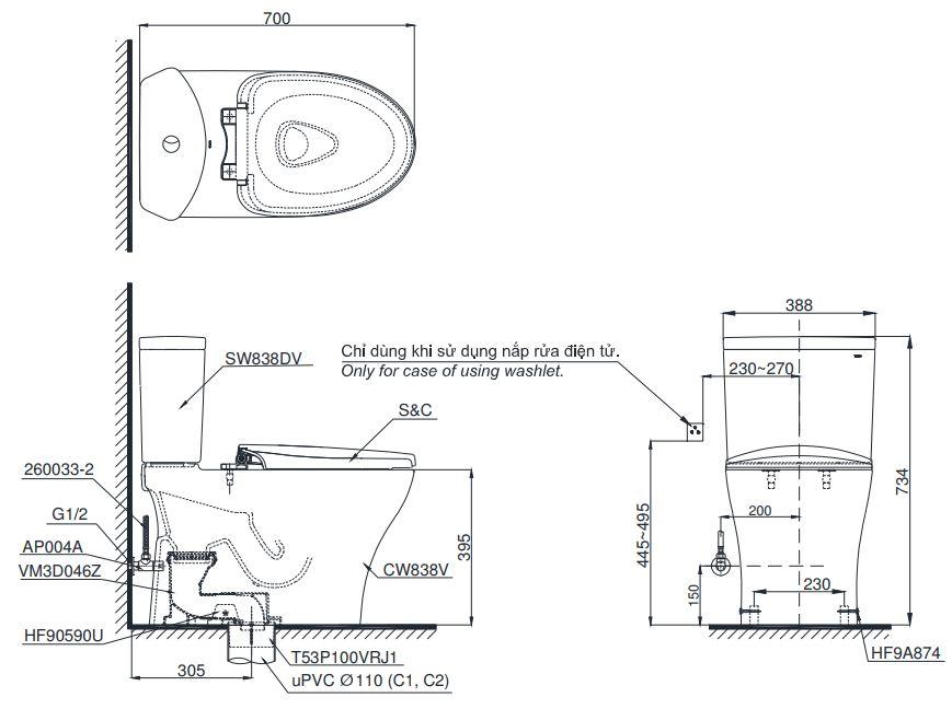 Bản vẽ bồn cầu C838 nắp điện tử TCF6631A TOTO