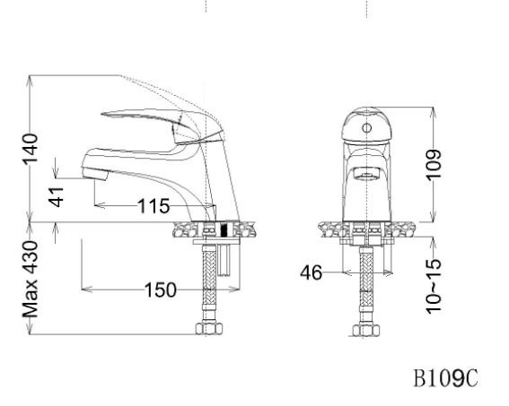 Bản vẽ kỹ thuật vòi lavabo lạnh B109C caesar