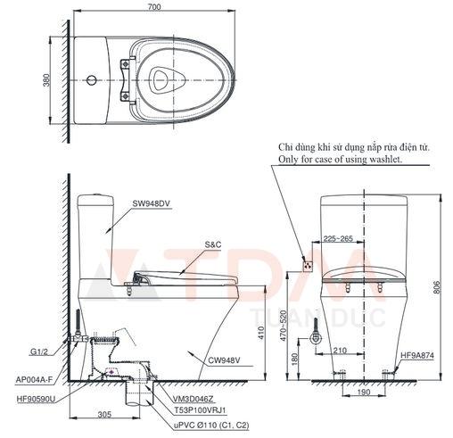 Bản vẽ kích thước bồn cầu CS948DT2 TOTO