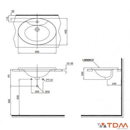 Hình minh họa bản vẽ kỹ thuật: Lavabo âm bàn dương vành của hãng TOTO