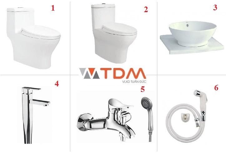 Trọn bộ nhà vệ sinh Viglacera bồn cầu 1 khối